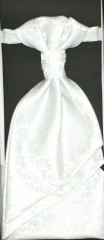 Francia nyakkendő,díszzsebkendővel - Fehér mintás Szettek
