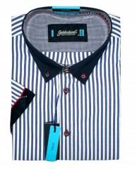Goldenland extra rövidujjú ing - Kék csíkos Extra méret