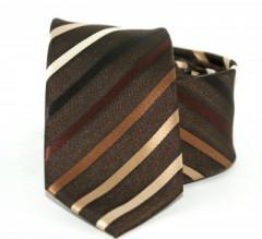 Goldenland slim nyakkendő - Barna-arany mintás