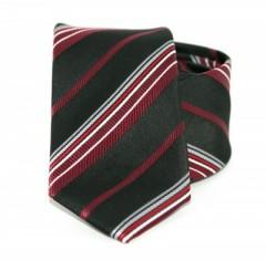 Goldenland slim nyakkendő - Bordó-fekete csíkos