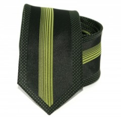 Goldenland slim nyakkendő - Fekete-almazöld csíkos