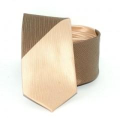 Goldenland slim nyakkendő - Arany-barna csíkos